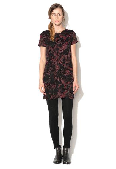 Tricou negru cu imprimeu abstract rosu Bordeaux Cens