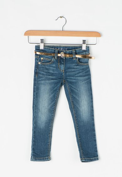 Jeansi skinny albastru inchis cu aspect decolorat