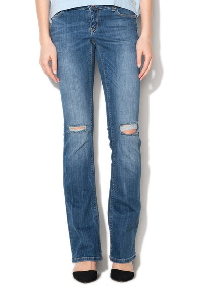 Jeansi albastri cu croiala bootcut si aspect deteriorat de la Silvian Heach Denim