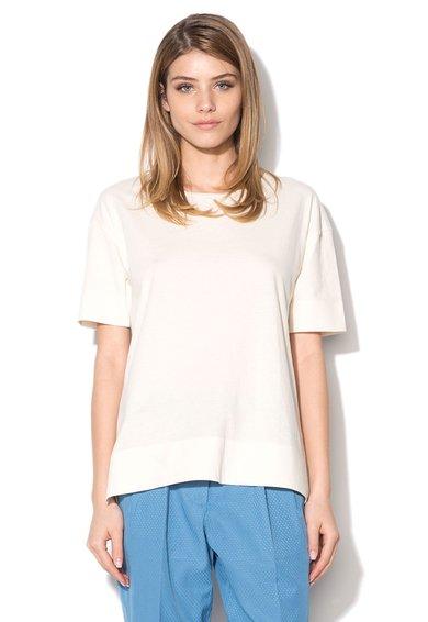 Silvian Heach Collection Tricou alb fildes asimetric cu croiala lejera Allosio