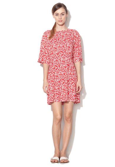 Rochie cu imprimeu alb cu rosu si maneci liliac de la United Colors Of Benetton