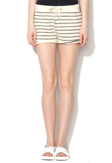 FashionDays.ro: Pantaloni scurti bej cu talie elastica si dungi Contaldi Silvian Heach Denim