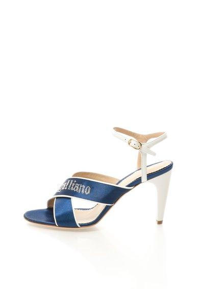 Sandale bleumarin cu alb cu barete incrucisate de la John Galliano