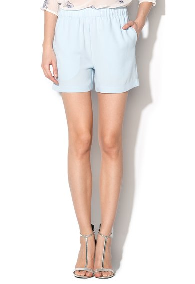 ICHI Pantaloni scurti albastru azur din crep cu talie elastica Savann
