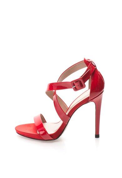 Roberto Botella Sandale rosii din piele lacuita cu toc inalt si barete