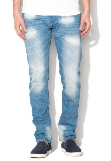 Jeansi albastri slim fit cu aspect decolorat Jimmy