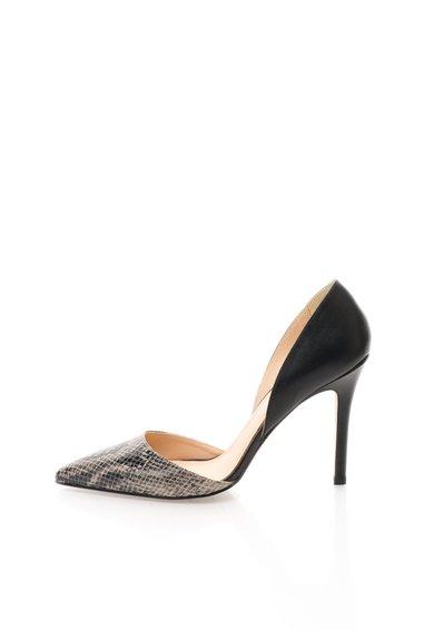Pantofi D'Orsay negru cu bej cu model tip reptila Naomi de la Versace 19.69 Abbigliamento Sportivo