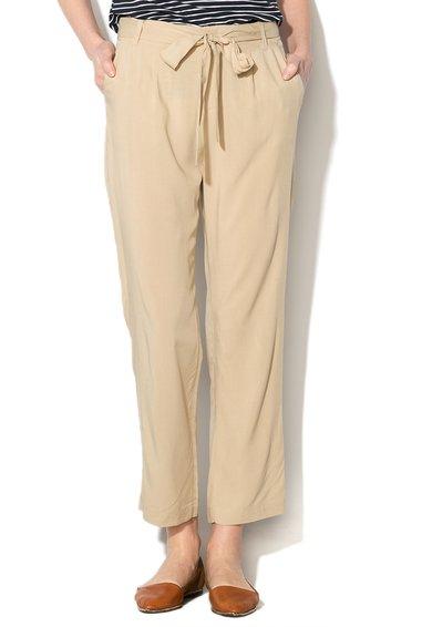 FashionDays.ro: Pantaloni bej cu croiala lejera si cordon in talie United Colors Of Benetton