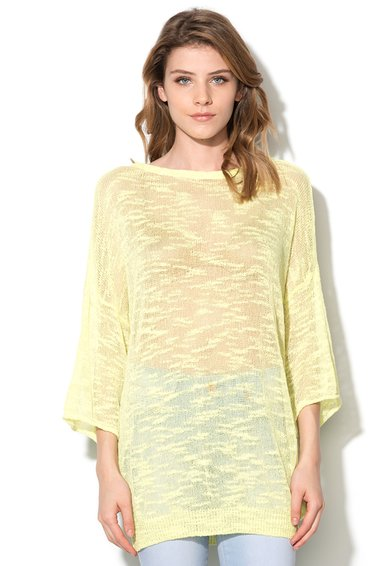 Bluza galben chartreuse transparenta cu maneci ? de la United Colors Of Benetton