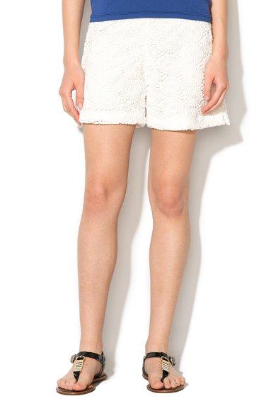 FashionDays.ro: Pantaloni scurti albi cu strat exterior crosetat United Colors Of Benetton