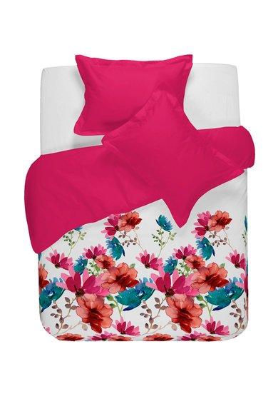 Set de pat alb cu fucsia cu imprimeu floral Petal de la NAF NAF linge de maison