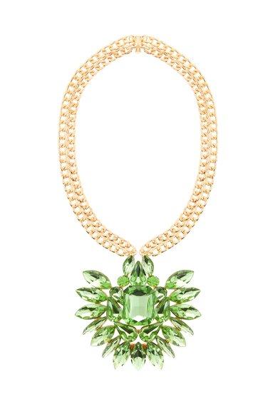 M by Maiocci Colier auriu cu pandantiv verde