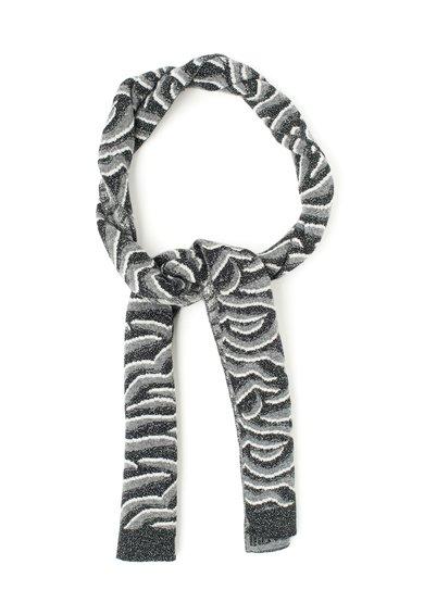Just Cavalli Fular gri cu negru din amestec de lana