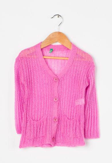 Cardigan tricotat roz de la United Colors Of Benetton