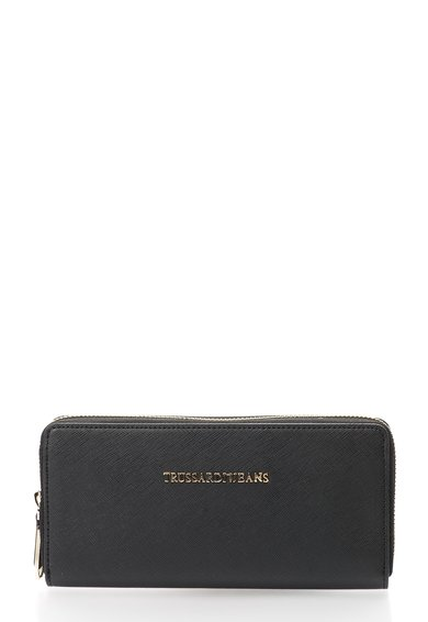 FashionDays.ro: Portofel negru cu textura Saffiano si fermoar Trussardi Jeans