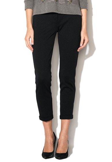 Pantaloni negri cu model discret verde inchis Tolda de la Marella Sport