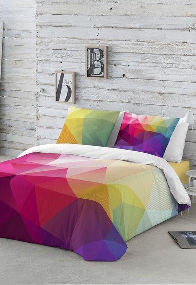 Naturals Set de pat multicolor cu imprimeu geometric Malevich