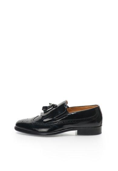 Pantofi boat negri de piele Donatien de la Versace 19.69 Abbigliamento Sportivo