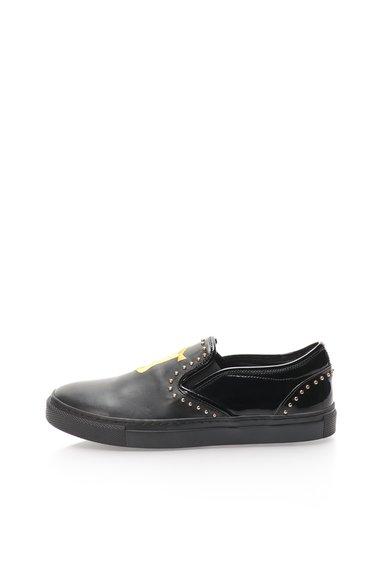 Pantofi slip-on negri de piele cu garnituri din piele lacuita de la John Galliano