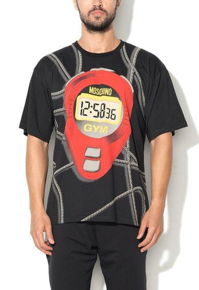 Tricou de casa negru cu imprimeu Moschino