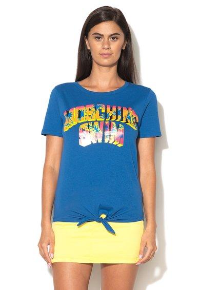 Tricou albastru de plaja cu imprimeu Moschino