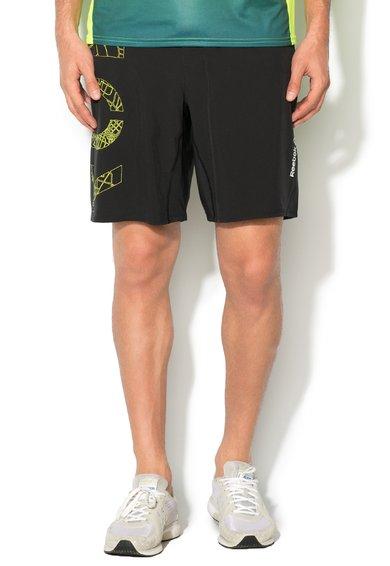 Pantaloni scurti slim fit negri pentru alergare de la Reebok