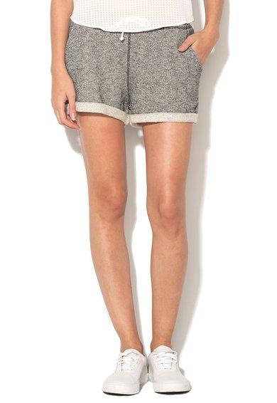 Pantaloni scurti gri inchis melange cu captuseala terry
