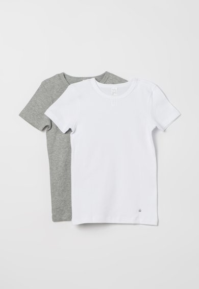 Set de tricouri gri melange cu alb – 2 piese de la Undercolors of Benetton