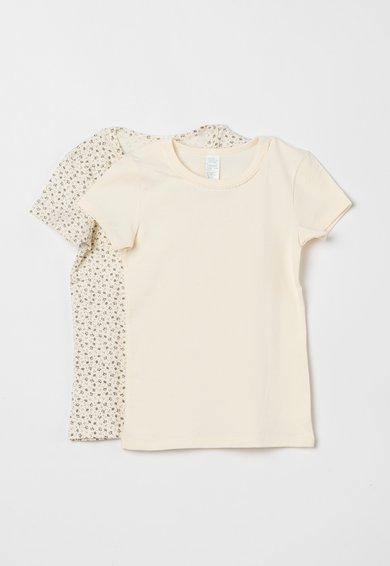 Set de tricouri alb fildes cu alb unt – 2 piese de la Undercolors of Benetton