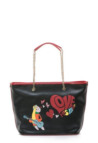 FashionDays.ro: Geanta shopper neagra cu imprimeu cu desene Love Moschino