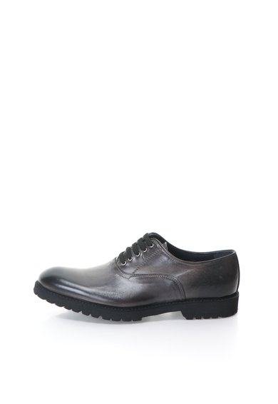 Pantofi de piele gri si negru cu aspect patinat de la Zee Lane Collection