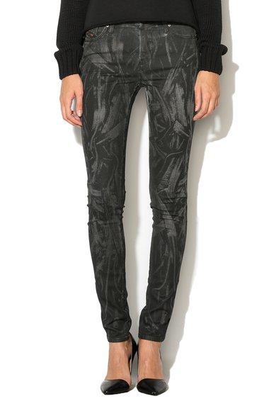 FashionDays.ro: Jeansi super slim fit skinny negri cu imprimeu Skinzee Diesel