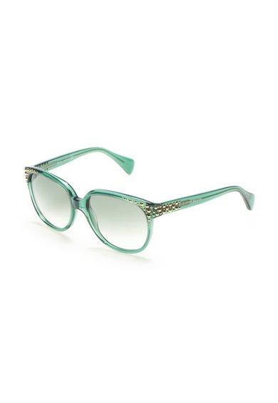 Ochelari de soare verde transparent cu nituri metalice de la Alexander McQueen