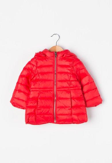 Jacheta rosie cu puf si gluga