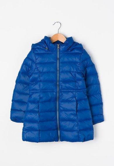 Jacheta albastra cu puf si gluga