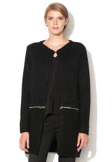 Cardigan negru cu fermoar decorativ de la IKKS