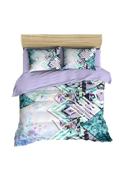 Set de pat lila cu imprimeu multicolor 3D Ayna de la Leunelle