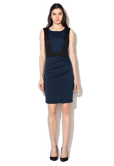 Rochie albastru cu negru cu aplicatii de dantela Zoe de la kaffe