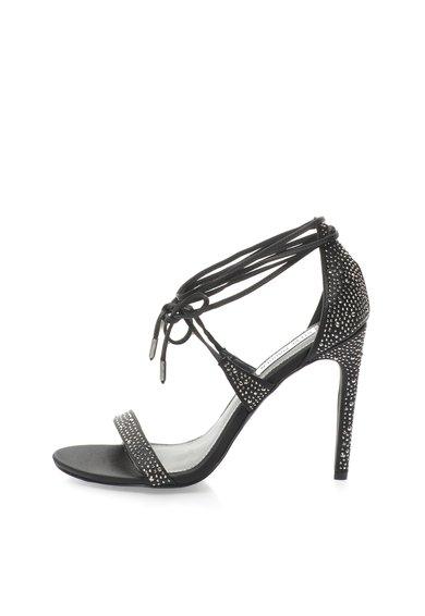Sandale negre cu design infasurabil si strasuri President de la Steve Madden