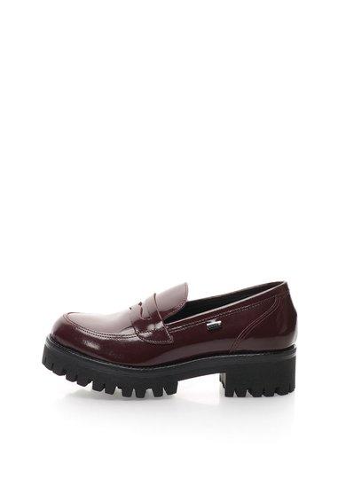 Pantofi loafer rosu Bordeaux cu talpa masiva