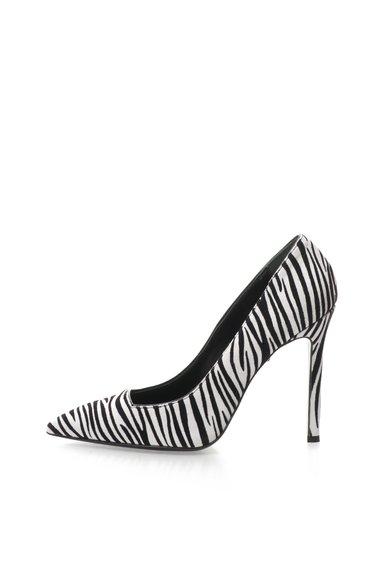 Pantofi negru cu alb cu model zebra de piele intoarsa de la Just Cavalli