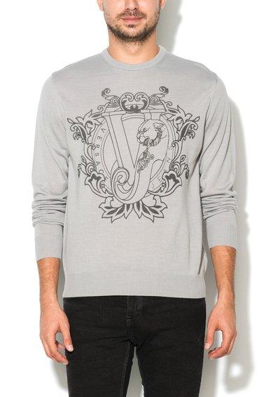 FashionDays.ro: Pulover gri perlat din amestec de lana tricotat fin VERSACE JEANS