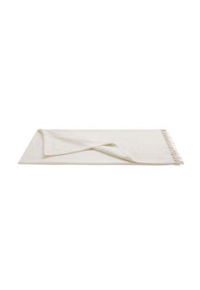 Patura alb fildes cu franjuri Ginger Deco