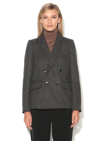 Sacou negru cu gri inchis cu model herringbone Wafanda de la Vero Moda