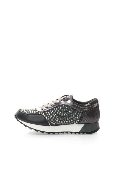 Pantofi casual wedge negru cu argintiu Cleo