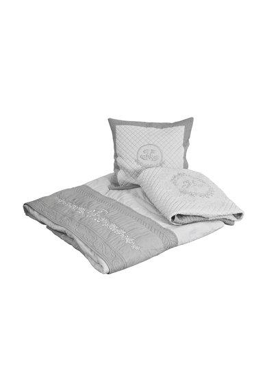 Cuvertura de pat in doua nuante de gri Roses de la Mathilde M
