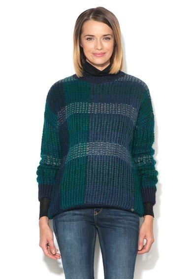 FashionDays.ro: Pulover albastru cu verde cu croiala lejera United Colors Of Benetton