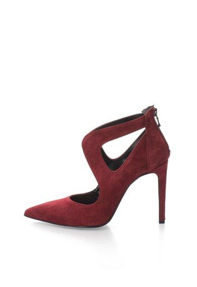 Pantofi Bordeaux de piele intoarsa cu decupaje laterale de la Zee Lane Collection