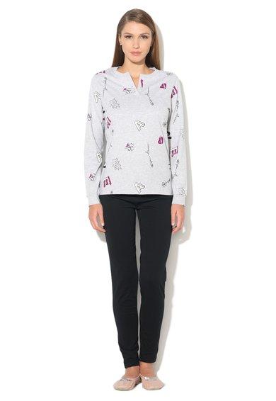 Pijama gri cu negru cu bluza si pantaloni