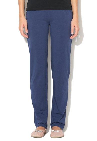 Pantaloni de casa albastru inchis cu strasuri